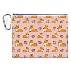 Corgi Peach Sploot Fabric Canvas Cosmetic Bag (xxl)