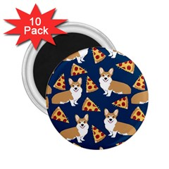 Corgi Pizza Navy Blue Kids Cute Funny 2 25  Magnets (10 Pack)