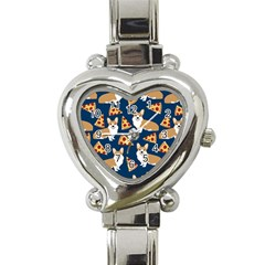 Corgi Pizza Navy Blue Kids Cute Funny Heart Italian Charm Watch
