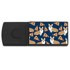 Corgi Pizza Navy Blue Kids Cute Funny Rectangular Usb Flash Drive