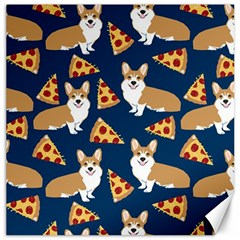 Corgi Pizza Navy Blue Kids Cute Funny Canvas 16  X 16