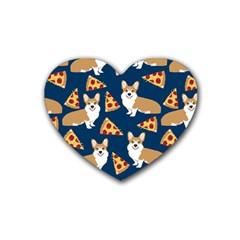 Corgi Pizza Navy Blue Kids Cute Funny Rubber Coaster (heart)