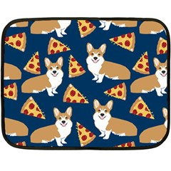 Corgi Pizza Navy Blue Kids Cute Funny Double Sided Fleece Blanket (mini)
