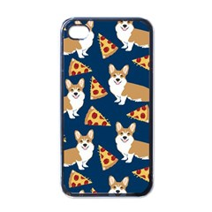 Corgi Pizza Navy Blue Kids Cute Funny Apple Iphone 4 Case (black)