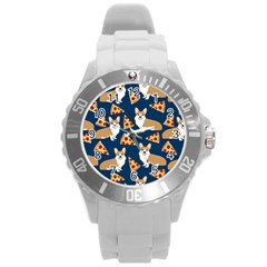 Corgi Pizza Navy Blue Kids Cute Funny Round Plastic Sport Watch (l)
