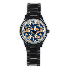 Corgi Pizza Navy Blue Kids Cute Funny Stainless Steel Round Watch