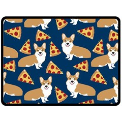 Corgi Pizza Navy Blue Kids Cute Funny Double Sided Fleece Blanket (large)