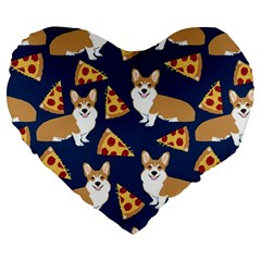 Corgi Pizza Navy Blue Kids Cute Funny Large 19  Premium Flano Heart Shape Cushions