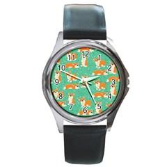 Corgi Dog Wrap Round Metal Watch