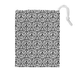 Hand Drawing Tribal Black White Drawstring Pouches (extra Large)