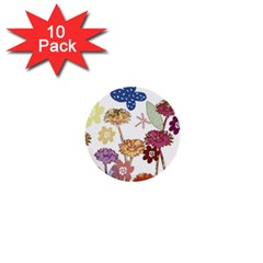 Flowers Butterflies Dragonflies 1  Mini Buttons (10 Pack)