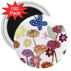Flowers Butterflies Dragonflies 3  Magnets (100 Pack)