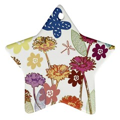 Flowers Butterflies Dragonflies Star Ornament (two Sides)