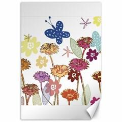 Flowers Butterflies Dragonflies Canvas 12  X 18