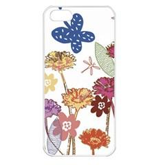 Flowers Butterflies Dragonflies Apple Iphone 5 Seamless Case (white)
