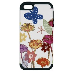 Flowers Butterflies Dragonflies Apple Iphone 5 Hardshell Case (pc+silicone)