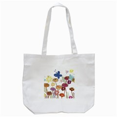 Flowers Butterflies Dragonflies Tote Bag (white)