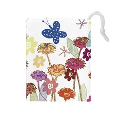 Flowers Butterflies Dragonflies Drawstring Pouches (large)
