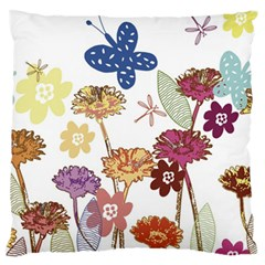 Flowers Butterflies Dragonflies Standard Flano Cushion Case (two Sides)