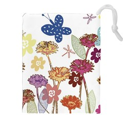 Flowers Butterflies Dragonflies Drawstring Pouches (xxl)
