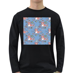 Dog Corgi Pattern Long Sleeve Dark T Shirts