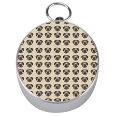 Puppy Dog Pug Pup Graphic Silver Compasses