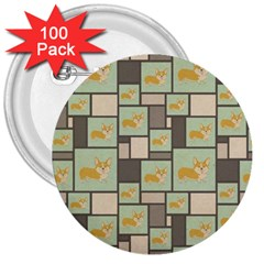 Quirky Corgi Kraft Present Gift Wrap Wrapping Paper 3  Buttons (100 Pack)