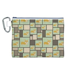Quirky Corgi Kraft Present Gift Wrap Wrapping Paper Canvas Cosmetic Bag (l)