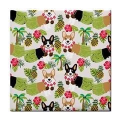 Hula Corgis Fabric Tile Coasters