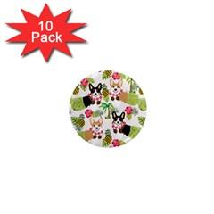 Hula Corgis Fabric 1  Mini Magnet (10 Pack)