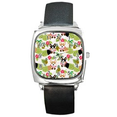 Hula Corgis Fabric Square Metal Watch