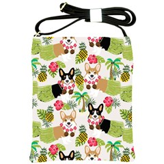 Hula Corgis Fabric Shoulder Sling Bags