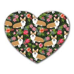 Welsh Corgi Hawaiian Pattern Florals Tropical Summer Dog Heart Mousepads
