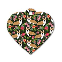 Welsh Corgi Hawaiian Pattern Florals Tropical Summer Dog Dog Tag Heart (two Sides)