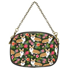 Welsh Corgi Hawaiian Pattern Florals Tropical Summer Dog Chain Purses (two Sides)