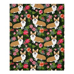 Welsh Corgi Hawaiian Pattern Florals Tropical Summer Dog Shower Curtain 60  X 72  (medium)