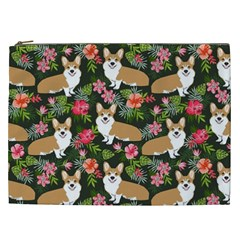 Welsh Corgi Hawaiian Pattern Florals Tropical Summer Dog Cosmetic Bag (xxl)