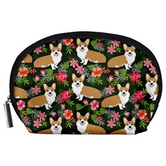 Welsh Corgi Hawaiian Pattern Florals Tropical Summer Dog Accessory Pouches (large)