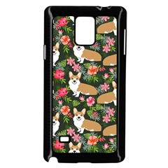 Welsh Corgi Hawaiian Pattern Florals Tropical Summer Dog Samsung Galaxy Note 4 Case (black)