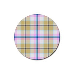 Pink And Yellow Plaid Rubber Coaster (round)