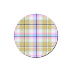 Pink And Yellow Plaid Magnet 3  (round)