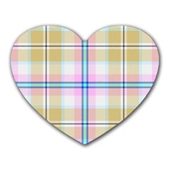 Pink And Yellow Plaid Heart Mousepads