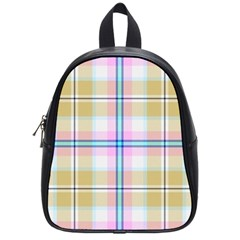Pink And Yellow Plaid School Bag (small)