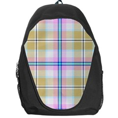 Pink And Yellow Plaid Backpack Bag