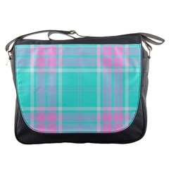 Blue And Pink Pastel Plaid Messenger Bags