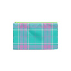 Blue And Pink Pastel Plaid Cosmetic Bag (xs)