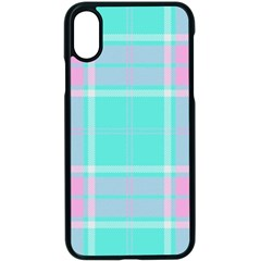 Blue And Pink Pastel Plaid Apple Iphone X Seamless Case (black)