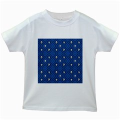 Funny Little Skull Pattern, Blue Kids White T Shirts