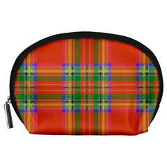 Orange And Green Plaid Accessory Pouches (large)