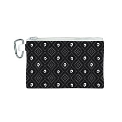 Funny Little Skull Pattern, B&w Canvas Cosmetic Bag (s)